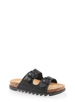 Double Band Footbed Sandals - BLACK - 1112004063727
