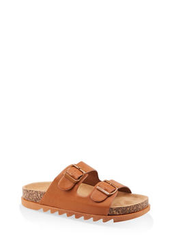 Double Band Footbed Sandals - TAN - 1112004063727