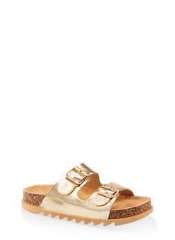 Double Band Footbed Sandals - GOLD - 1112004063727
