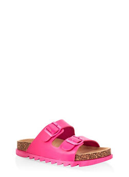 Double Band Footbed Sandals - NEON PINK - 1112004063727