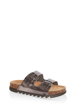 Double Band Footbed Sandals - PEWTER - 1112004063727