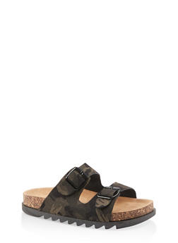 Double Band Footbed Sandals - CAMOUFLAGE - 1112004063727