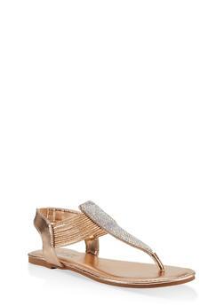 Rhinestone Cord Thong Sandals - 1112004063865