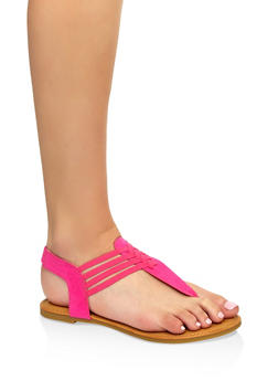Elastic Caged Thong Sandals - 1112004063866