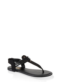 Corded Thong Sandals - BLACK SUEDE - 1112004063870