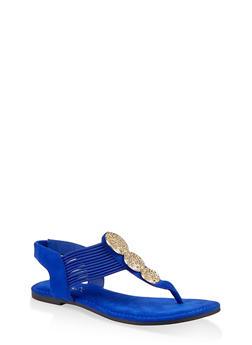 Three Pendant Corded Thong Sandals - 1112004063871