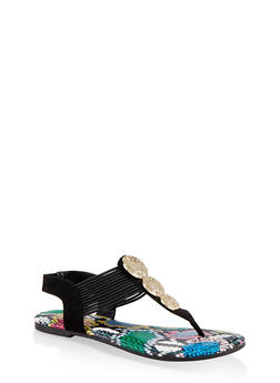 Three Pendant Corded Thong Sandals - BLACK SUEDE - 1112004063871