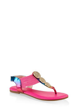 Three Pendant Corded Thong Sandals - MULTI COLOR - 1112004063871