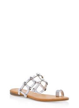 Studded Caged Toe Ring Slide Sandals - SILVER MPU - 1112004064280