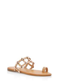 Studded Caged Toe Ring Slide Sandals - NATURAL CRP - 1112004064280