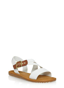Flat Sandals with Asymmetrical Buckle Strap - WHITE - 1112004064327