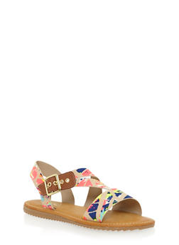 Flat Sandals with Asymmetrical Buckle Strap - NEON PINK MULTI - 1112004064327