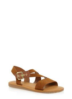 Flat Sandals with Asymmetrical Buckle Strap - COGNAC - 1112004064327