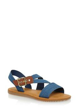 Flat Sandals with Asymmetrical Buckle Strap - BLUE DENIM - 1112004064327