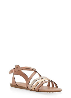 Criss Cross Strap Sandals - BLUSH - 1112004064347