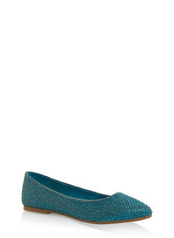 Rhinestone Studded Pointed Toe Flats - TEAL FABRIC - 1112004064668