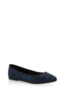 Rhinestone Studded Pointed Toe Flats - BLACK/BLUE - 1112004064668