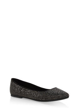 Rhinestone Studded Pointed Toe Flats - BLACK F/S - 1112004064668