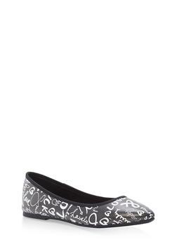 Pointed Toe Skimmer Flats - BLACK/WHITE - 1112004064669