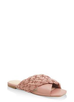 Braided Criss Cross Band Slide Sandals - 1112004065483