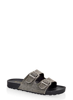 Rhinestone Two Buckle Footbed Sandals - BLACK - 1112004065877