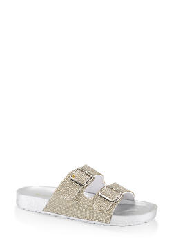 Rhinestone Two Buckle Footbed Sandals - CLEAR - 1112004065877