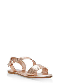 Asymmetrical Shimmer Strap Sandals - ROSE GOLD CMF - 1112004066139