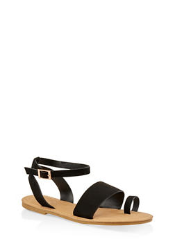 Ankle Strap Toe Ring Sandals - BLACK SUEDE - 1112004066150