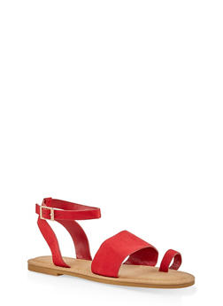 Ankle Strap Toe Ring Sandals - RED S - 1112004066150