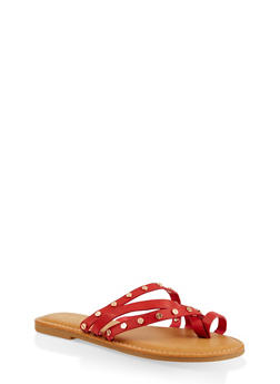 Studded Strappy Sandals - RED - 1112004066151