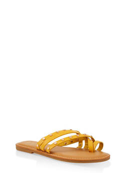 Studded Strappy Sandals - YELLOW - 1112004066151
