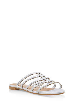 Studded Strap Slide Sandals - SILVER FABRIC - 1112004066293
