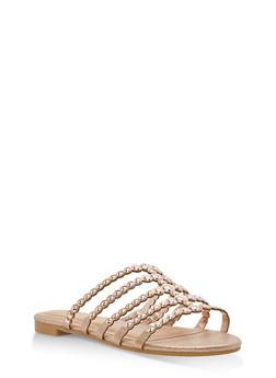 Studded Strap Slide Sandals - ROSE GOLD FABRIC - 1112004066293