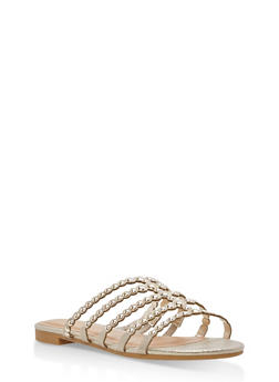 Studded Strap Slide Sandals - GOLD FABRIC - 1112004066293