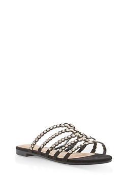Studded Strap Slide Sandals - BLACK F/S - 1112004066293