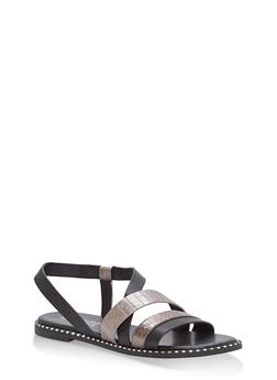 Textured Strap Studded Flat Sandals - BLACK MULTI - 1112004066501
