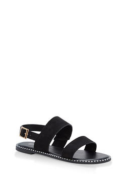 Studded Sole Double Strap Sandals - BLACK F/S - 1112004066502