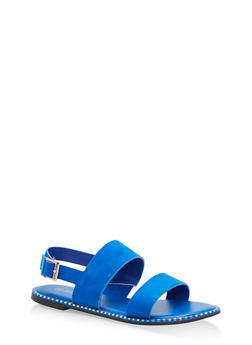 Studded Sole Double Strap Sandals - BLUE F/S - 1112004066502