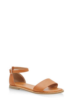 Metallic Trim Ankle Strap Sandals - TAN BNH - 1112004066503