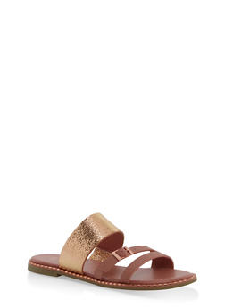 Triple Strap Metallic Detail Slide Sandals - BLUSH - 1112004066504