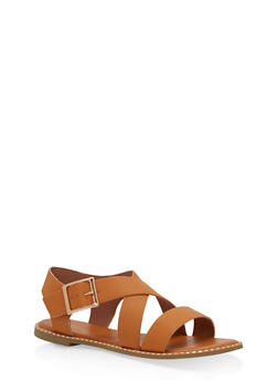 Studded Sole Cross Strap Sandals - TAN BNH - 1112004066508