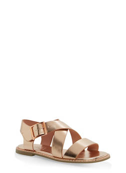 Studded Sole Cross Strap Sandals - ROSE GOLD MPU - 1112004066508