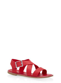 Studded Sole Cross Strap Sandals - RED BNH - 1112004066508
