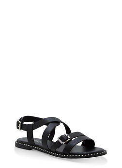 Criss Cross Ankle Strap Sandals - BLACK - 1112004066509