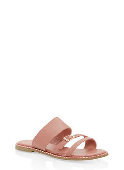 3 Strap Studded Sole Slide Sandals - BLUSH - 1112004066512
