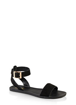 One Band Ankle Strap Sandals - BLACK SUEDE - 1112004066680