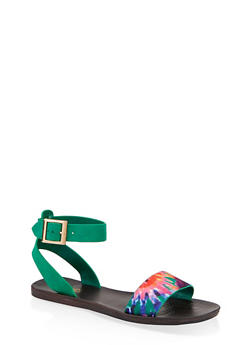 Single Band Ankle Strap Sandals - BLUE MULTI - 1112004066692
