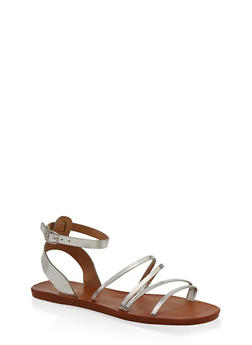 Strappy Faux Leather Sandals - 1112004066699