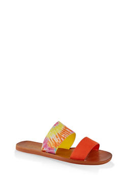 Contrast Two Band Slide Sandals - 1112004066701