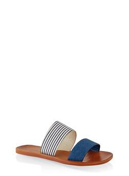 Contrast Two Band Slide Sandals - DENIM - 1112004066701